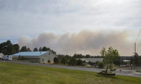 A view of the Slide Fire's massive smoke plume from the NAU campus Thursday evening.