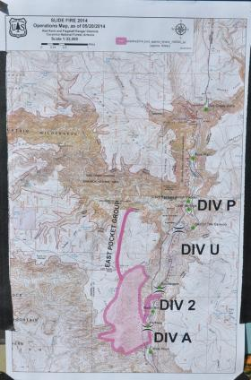The Forest Service's map of the Slide Fire.