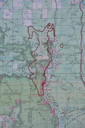 A map of the Slide Fire as of Friday morning. The blaze has not crossed Highway 89A to the east, nor has it jumped Forest Road 535 to the north.