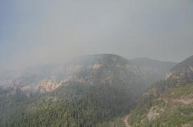 Smoke from the Slide Fire fills Oak Creek Canyon on May 21.