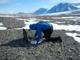 NAU biologist Egbert Schwartz conducting research in Antarctica's McMurdo Dry Valleys
