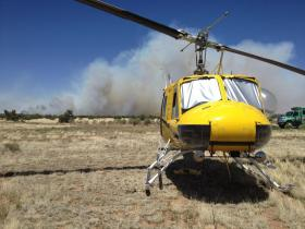 A helicopter awaits use during the Jack Fire Saturday.