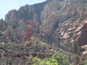 The Slide Fire burn area just north of Slide Rock State Park where the blaze began.