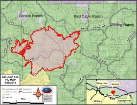 A map of the San Juan Fire as of Mon, June 30