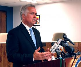 Arizona Superintendent of Public Instruction John Huppenthal at Wednesday's press conference.