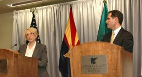 Arizona Gov. Jan Brewer and Sonora Gov. Guillermo Padres answer questions last week about the flood of immigrants across the border following the meeting of the Arizona-Mexico Commission.