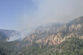 The Slide Fire started in Oak Creek Canyon and quickly spread north toward Flagstaff. This photo was taken on the second day of the fire when it was still only a couple hundred acres in size.