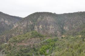 The State Route 89A switchbacks in Oak Creek Canyon after the Slide Fire. Large areas of steep terrain were severely burned in May.