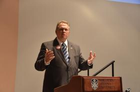 Mesa Mayor and Republican gubernatorial candidate Scott Smith at Monday's Flagstaff forum.