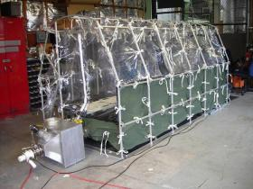 This portable tent was used to transfer Ebola-infected patients from West Africa to Emory University Hospital in Atlanta, GA. It was designed for transporting patients with highly infections diseases.