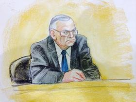 A sketch of Sheriff Joe Arpaio testifying in federal court on April 23, 2015