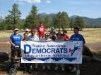 The Native American Democrats of Northern Arizona celebrating the Native American Right to Vote Day in July in Flagstaff. The Native vote could play a key role in Arizona's First Congressional District race.