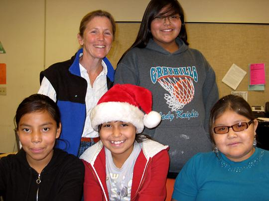 Margaret Erhart and some of her creative writing students at Eagles' Nest Intermediate School in Tuba City, Arizona, on the Navajo Nation.