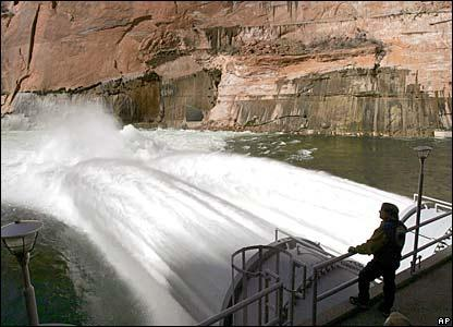 "The March, 2008 ""High Flow Experiment\"" at Glen Canyon Dam to rebuild beaches and create wildlife habitat in the Grand Canyon."