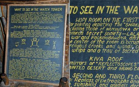 """Architect Mary Colter's famous hand written sign at the Desert View Watchtower at Grand Canyon National Park, defaced by two \""""grammar vigilantes\"""" in 2008. Can you spot the edits they made?"""