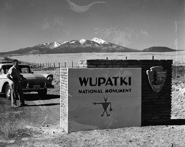 Entrance sign to Wupatki National Monument from US HWY 89