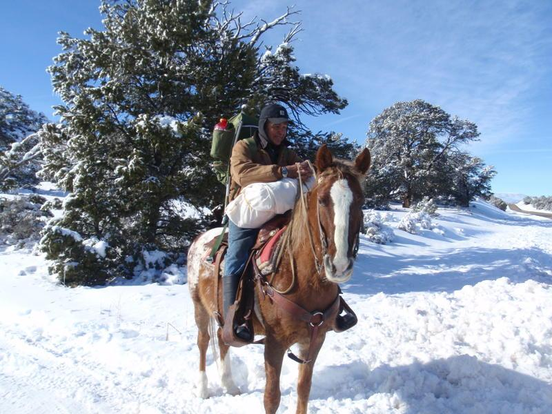 A Navajo horseman makes his way to Peabody Coal to pick up heating and cooking fuel.
