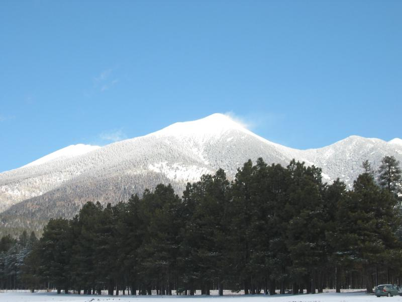 The San Francisco Peaks after a recent snowfall. The Flagstaff City Council is debating whether to allow the Arizona Snowbowl ski area to use drinking-quality water to make artificial snow.