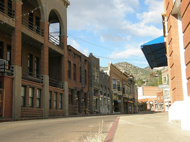 There is a ghostly silence on the streets of Bisbee at sunrise. Bisbee is one of several Arizona ghost towns that has been redeveloped by tourism.