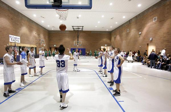 The El Capitan Eagles boys basketball team warming up for a game two years ago.