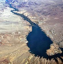 Lake Havasu with Lake Havasu City, Arizona on the east shore (right) and Havasu Lake, California on the western shore (left).