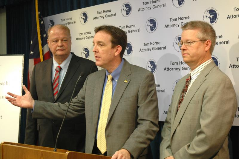 Attorney General Tom Horne (left), Secretary of State Ken Bennett, and Representative Edward Farnsworth