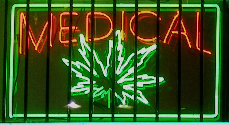 Medical marijuana neon sign at a dispensary on Ventura Boulevard in the San Fernando Valley—Los Angeles, California.