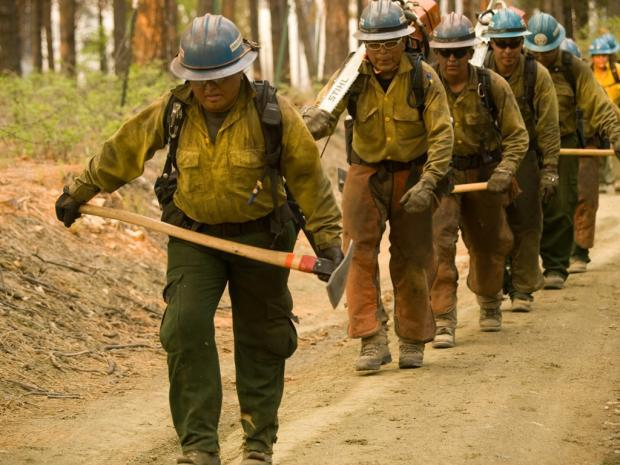 Firefighters headed to the fireline. May 20, 2012