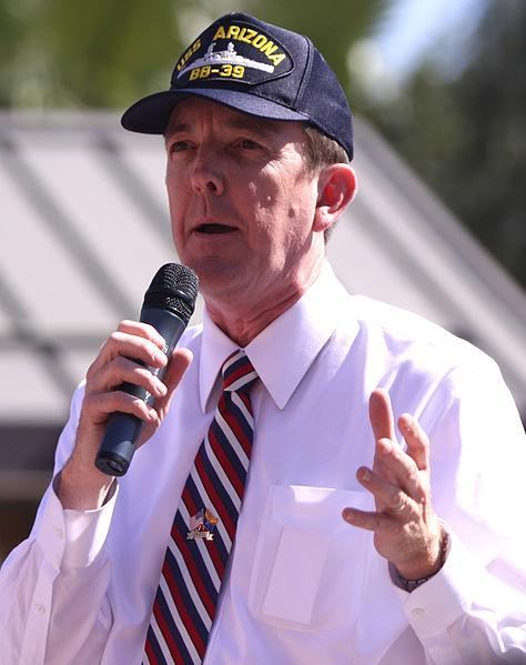 Secretary of State Ken Bennett speaking at a Mitt Romney campaign event in May 2012.