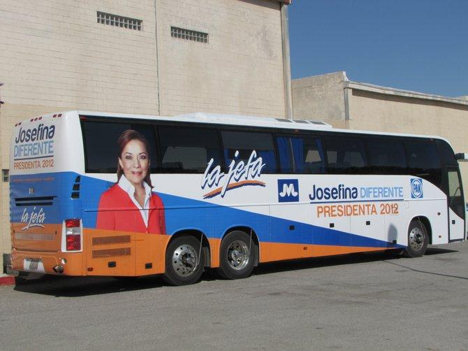 The campaign bus for Mexican presidential candidate Josefina Vazquez Mota reads 'la jefa' or 'the boss.'