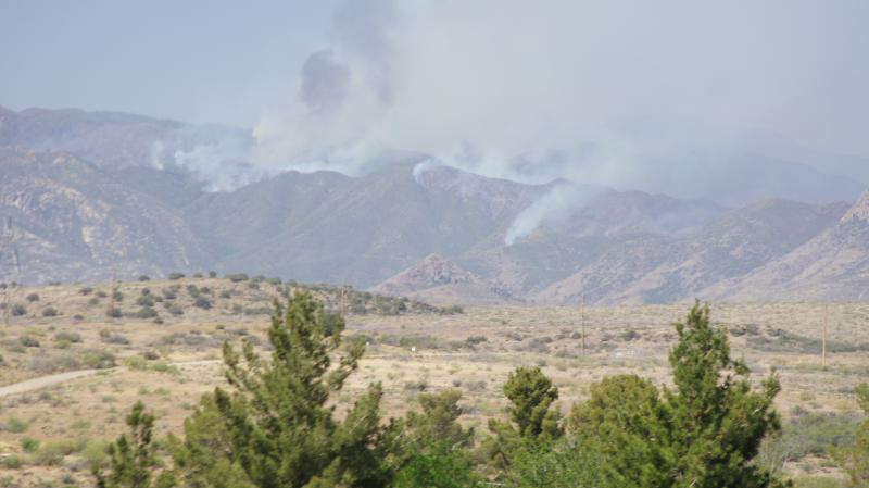 A view of the Gladiator Fire at the end of its first week from Fire Management Team headquarters in Mayer, AZ