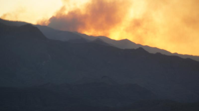 A view of the Gladiator Fire at its peak from nearby Sunset Point rest stop.