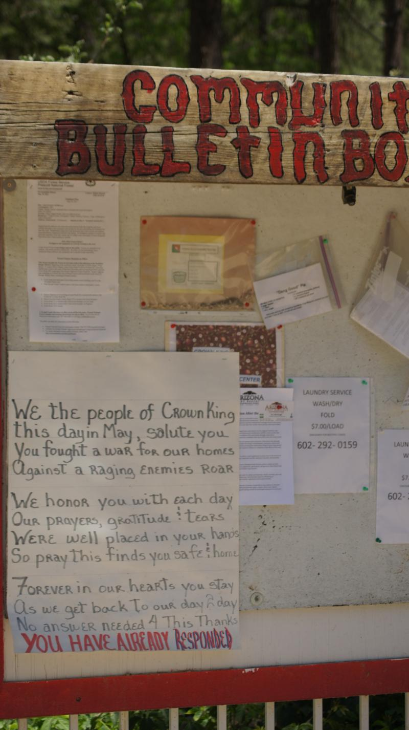 A message posted on the Crown King community bulletin board from the townspeople to the firefighters who saved the town.