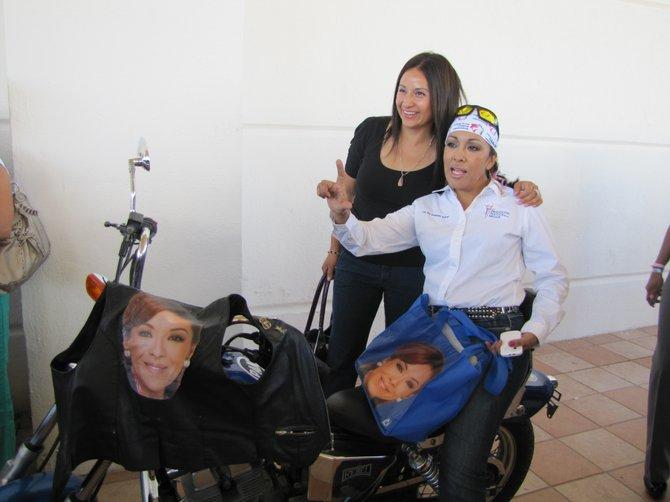 A gang of lady bikers showcased their motorcycles, adorned with images of Josefina Vazquez Mota, at a recent campaign event in Ciudad Juárez.