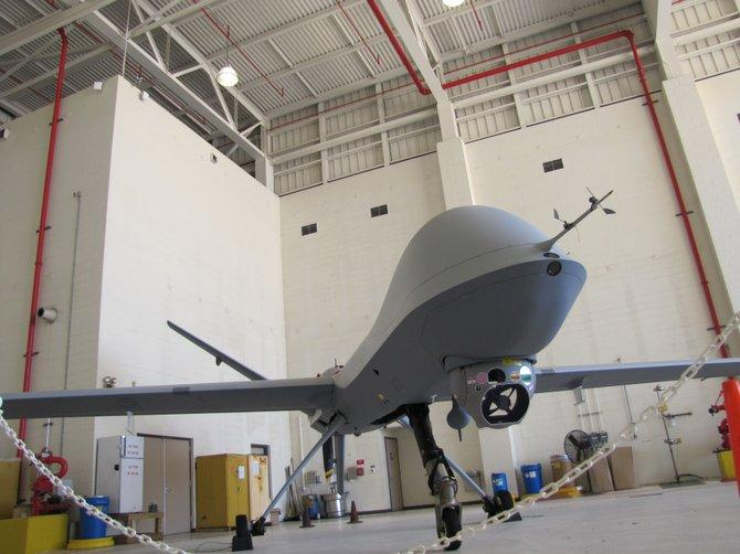 This is one of 10 Predator B drones that DHS uses to patrol the U.S.-Mexico border. It is based in Corpus Christi, Texas.