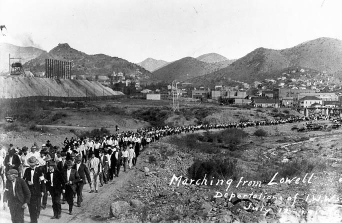 Deportation of striking miners from Bisbee, Arizona, on July 12, 1917. Striking miners and others rounded up in the nearby town of Lowell, Ariz., are marched toward Bisbee, for deportation to New Mexico.