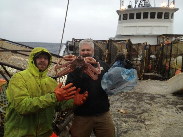 Cinematographer Matt Fahey, right, near Kodiak, Alaska, with deckhand Nick Morrow.