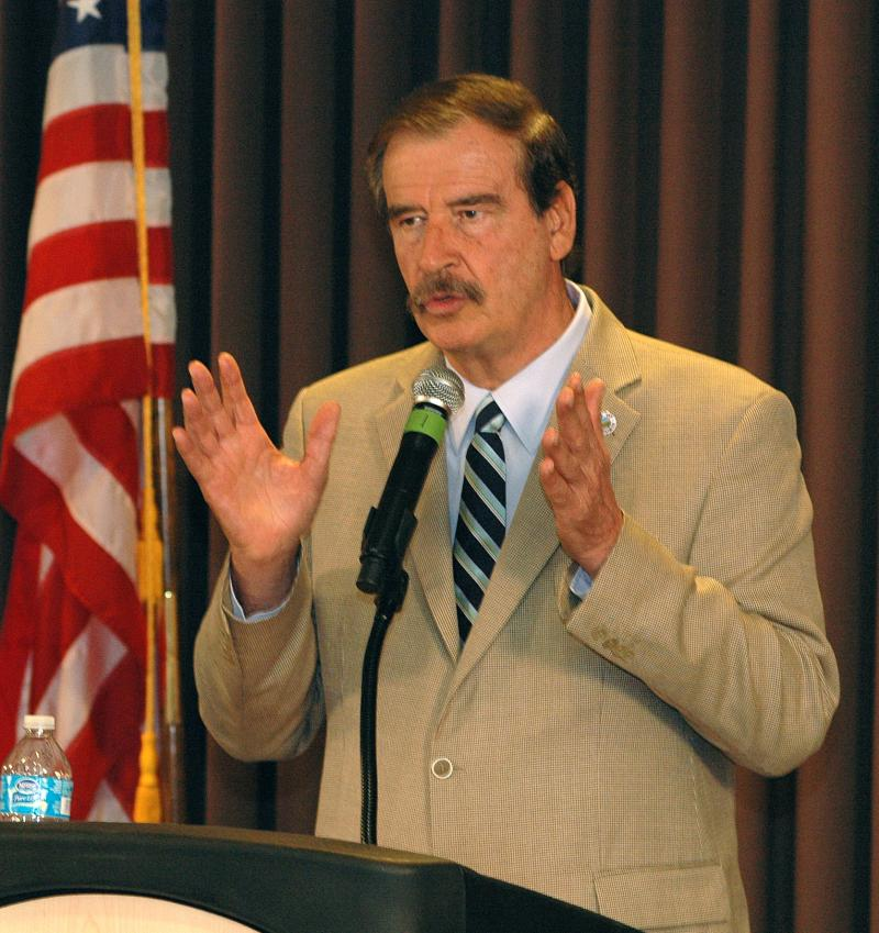 Former Mexican President Vicente Fox makes his case Thursday for greater economic cooperation -- and use of Mexican migrant labor -- to bolster the economies of both his country and the United States.