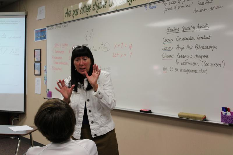 Flagstaff geometry teacher Cindy Hester explains obtuse angles to a class, Wednesday, Sept. 5, 2012.