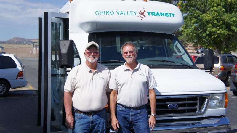 Ron Romley (left) founded Chino Valley Transit while he was Vice Mayor in 2008.  Jim Flood was one of his first drivers.