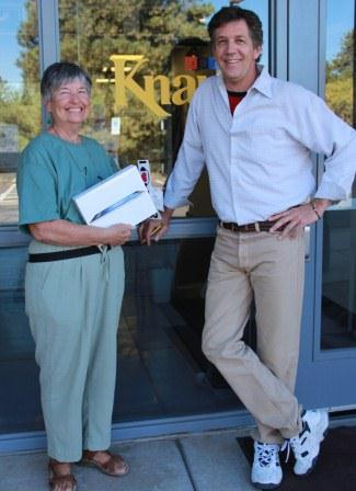 iPad winner, Rea Ebeling of Cottonwood with All Things Considered Host, Terry Ward.