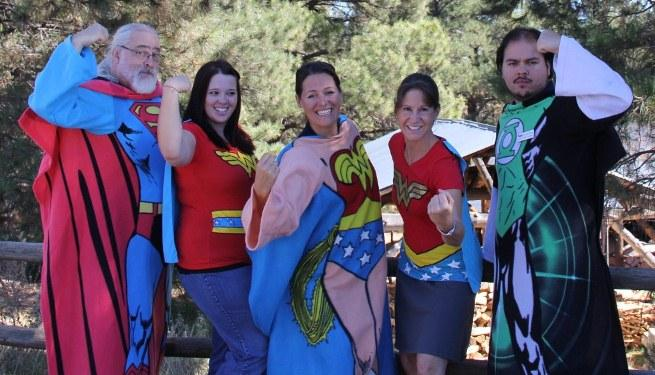 Some of KNAU's many superheros - Brian Sanders, Jennifer Nelson, Cory Sheeley, Joanne MacIsaac, and Estevan Bellino (lt to rt)