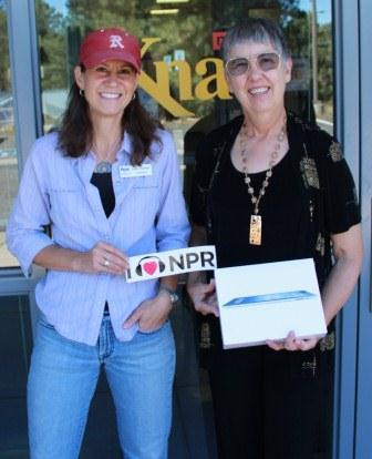 iPad Winner, Evelyn Billo of Flagstaff (right) with KNAU Membership Coordinator, Joanne MacIsaac