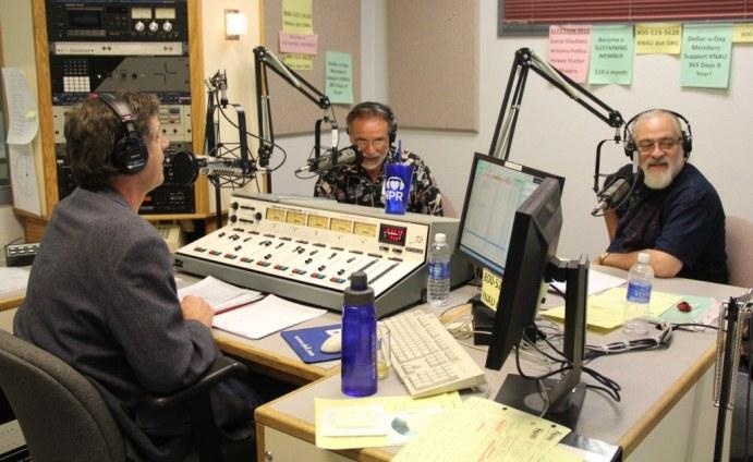 All Things Considered Host, Terry Ward, with Bob Glazar and Brian Sanders during the final hour of fundraising.