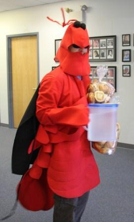 """Super Crawfish"" from Satchmo's delivering dinner for KNAU phone volunteers."