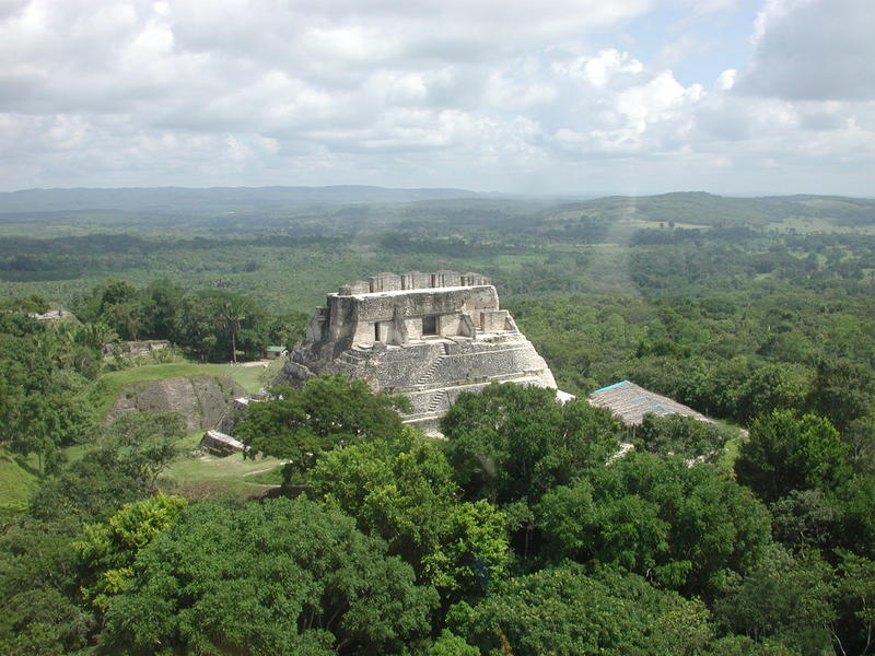 An aerial view of Xunantunich