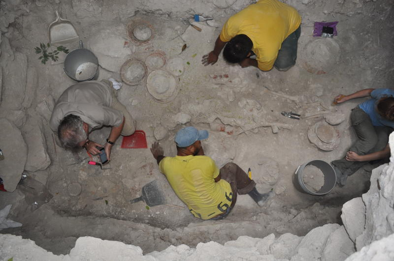 Overhead view of the tomb during excavations.