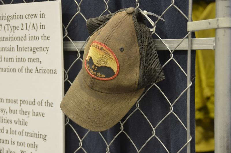 Crew Superintendent Eric Marsh's hat hangs on a display.