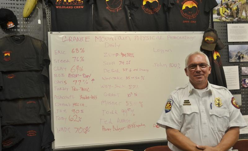 Prescott Fire Department Division Chief and Fire Marshal Don Devendorf stands below a collection of Granite Mountain T-shirts and a white board used by the crew. Members would write how they were feeling next to their names before heading out on a fire.