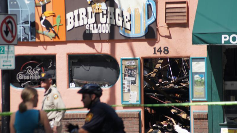 The Bird Cage Saloon is a landmark on Whiskey Row.  The interior of the building was destroyed, and the iconic sign has been taken down for safe keeping.